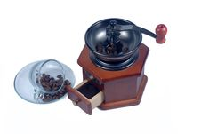Free Wooden Coffee Grinder Glass Cup Royalty Free Stock Photo - 21235985