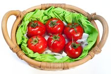 Free Ripe Tomatoes In The Woven Basket Stock Images - 21236314