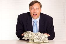Smart Businessman With Money Royalty Free Stock Photos