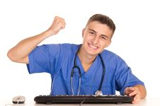 Free Young Doctor With Keyboard Royalty Free Stock Images - 21236789