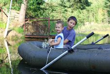 Free Little Boys Boating Stock Photo - 21237160