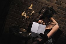 Lady And Letter Stock Images