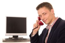 Free Cute Worker At Telephone Stock Photo - 21237740