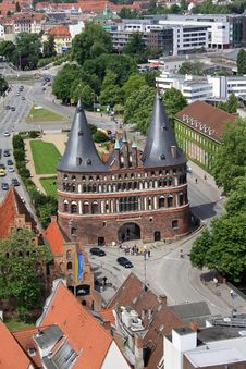 The Holsten Gate In Luebeck Royalty Free Stock Image