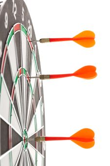 Free Darts Hitting The Bullseye Stock Photo - 21238850