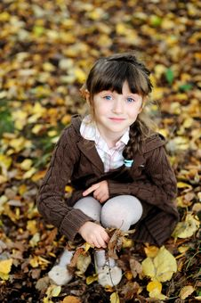 Cute Child Girl Sitting On Carpet Of Autumn Leaves Stock Images