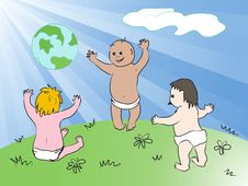 Happy Global Kids. And Also Includes EPS 8 Royalty Free Stock Images
