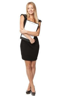 Free Business Woman Holding Blank Banner Stock Photography - 21239152
