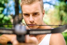 Free Strong Young Men With Arbalest Stock Images - 21239304