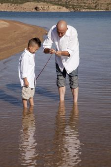 Free Father Teach Son To Fish Stock Photos - 21239603