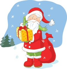 Free Santa Claus With Christmas Present Stock Photo - 21239670