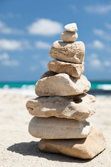 Stack Of Pebbles On The Beach. Royalty Free Stock Photo