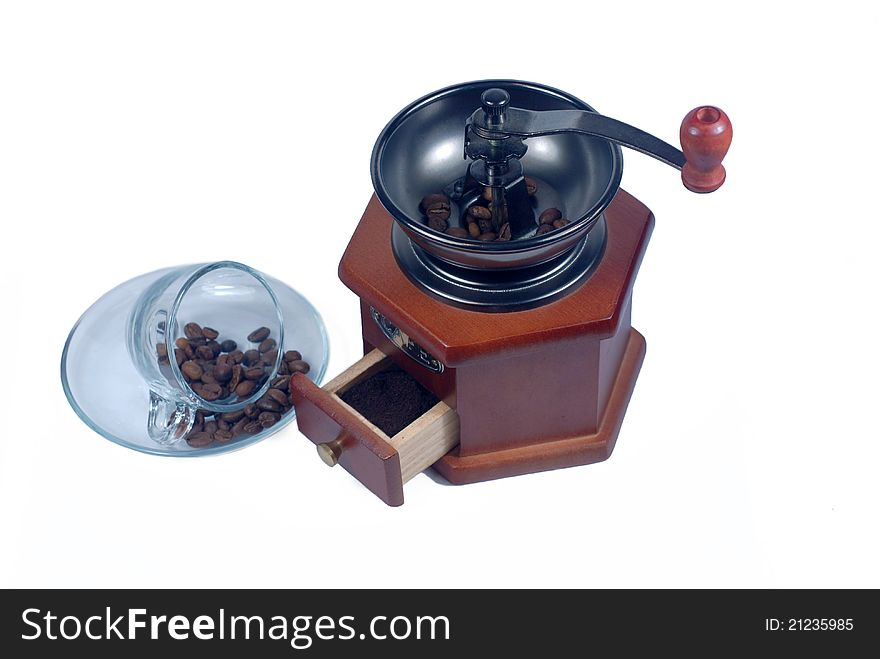 Wooden coffee grinder glass cup