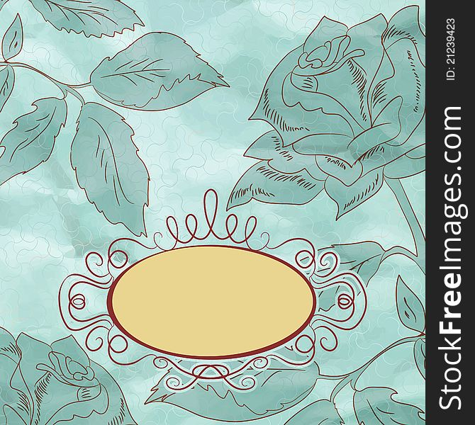 Vintage rose floral card (not auto-traced). EPS 8