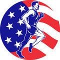 Free American Marathon Runner Stars Stripes Flag Royalty Free Stock Photo - 21240345