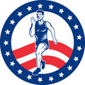 Free American Marathon Runner Stars Stripes Royalty Free Stock Photos - 21240348