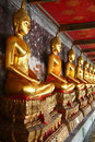 Free A Row Of Golden Buddha Statue Stock Photography - 21244932