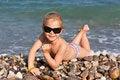 Free Beautiful Girl Lying At The Seashore Stock Images - 21245394