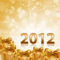 Free Year 2012 Gold Sparkling Background And Gift Royalty Free Stock Photography - 21249397