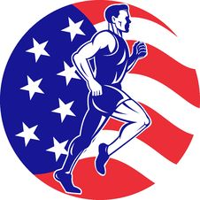 Free American Marathon Runner Stars Stripes Flag Royalty Free Stock Photo - 21240345
