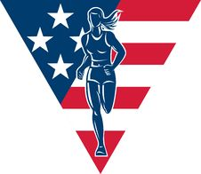 American Marathon Runner Stars Stripes Royalty Free Stock Photos