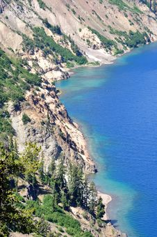 Western Shore Of Chaski Bay, Crater Lake Oregon Stock Photography