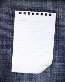 Free Blank Paper On Blue Jean Royalty Free Stock Images - 21241619
