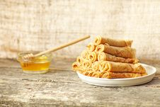 Free Fritters (pancakes) With Honey Stock Images - 21244124