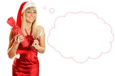 Free Attractive Young Woman Santa Stock Photography - 21244362