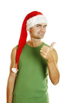 Free Attractive Young Man Santa Stock Image - 21244421