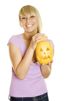 Free Young Woman With A Pumpkin For Halloween Royalty Free Stock Photos - 21244488