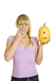 Free Attractive Woman With A Pumpkin For Halloween Royalty Free Stock Photos - 21244638