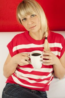 Attractive Young Woman Drinking Coffee At Home Royalty Free Stock Images