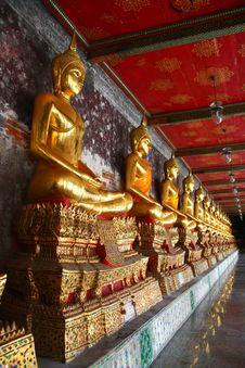 Golden Buddha Image At Corridor Stock Photography