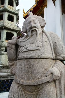 Statue Chinese At Wat Suthat In Bangkok Royalty Free Stock Photo
