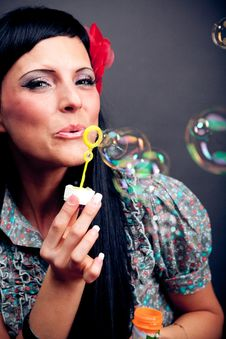 Free Pretty Women And Soap Bubbles Royalty Free Stock Photography - 21245377