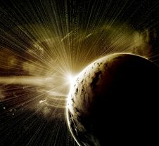 Free Planet With A Flash Of Sun Stock Image - 21245631