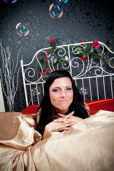 Free Happiness Women On Vintage Bed Stock Photos - 21245883