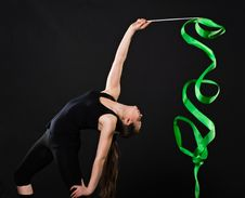 Free Beautiful Gymnast With Green Ribbon Stock Image - 21246231