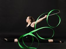 Free Beautiful Gymnast With Green Ribbon Stock Photo - 21246240