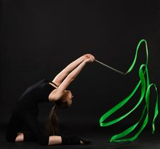 Free Beautiful Gymnast With Green Ribbon Stock Image - 21246241