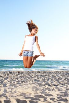 Free Young Woman On Sand Beach Stock Photo - 21247410