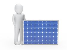 D Man Solar Panel Royalty Free Stock Images