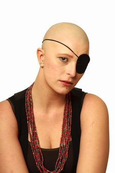 Free Sad Bald Girl With Eye Patch Royalty Free Stock Photos - 21248228