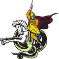 Free Knight Riding Horse Fighting Dragon Snake Royalty Free Stock Image - 21254306