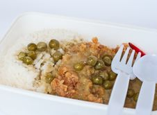Chicken Green Curry In Meal Box Royalty Free Stock Photo