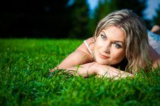 Free Attractive Woman Lying On Green Fresh Grass Stock Photo - 21251510