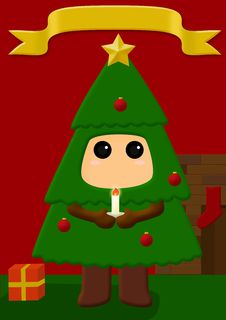 Free Christmas Tree Costume Royalty Free Stock Images - 21252069