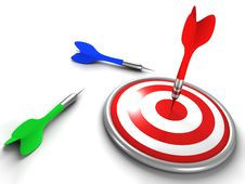 Free Red Dart Successly Hitting Target Royalty Free Stock Photography - 21253617