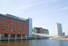 White Bridge And Dockside Offices Royalty Free Stock Images